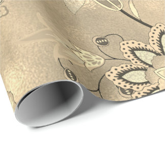 Floral Sepia Gold Glass Oriental Flowers Wrapping Paper