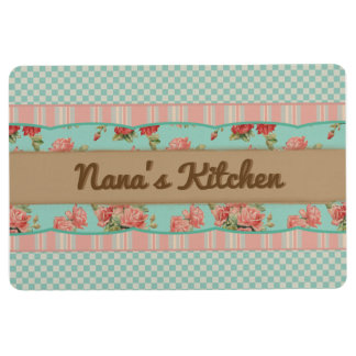 Floral Shabby Chic Personalized Mat (Turquoise)