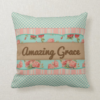 Floral Shabby Chic Personalized Pillow (Turquoise)