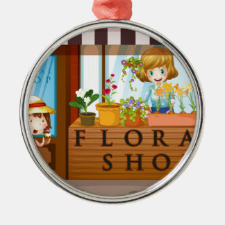 Floral shop with seller and customer Silver-Colored round decoration