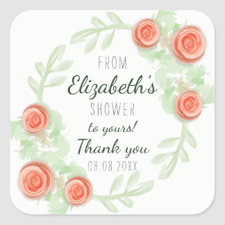 Floral Shower Stickers - Peach Roses