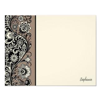 Floral Sidebar Flat Note Card (grey) 11 Cm X 14 Cm Invitation Card