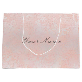 Floral Silver Blush Marble Metallic Peach Rose Large Gift Bag