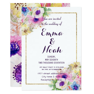 Floral sketch watercolor hand paint card