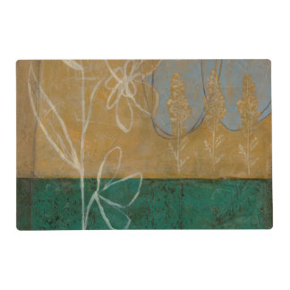 Floral Sketch with Wildflower and Plants Laminated Placemat
