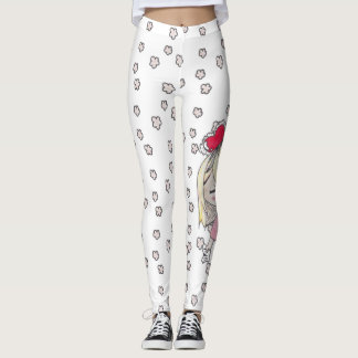 Floral sketches and love sick chibi with Valentine Leggings