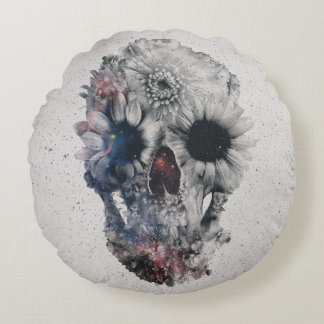 Floral Skull 2 Round Cushion