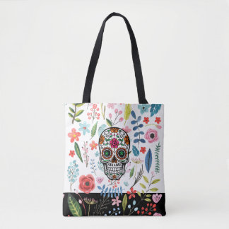 Floral Skull & Colorful Botanical Flowers & Leafs Tote Bag