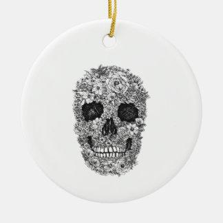 Floral Skull Round Ceramic Ornament
