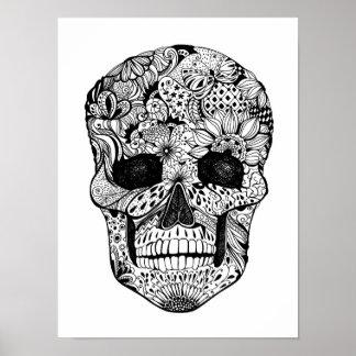 Floral Skull Doodle 2 Poster