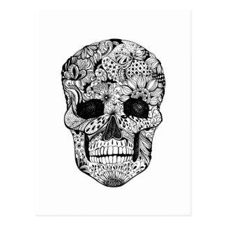 Floral Skull Doodle Postcard