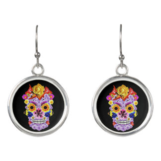 Floral Skull Earrings - Day of the Dead