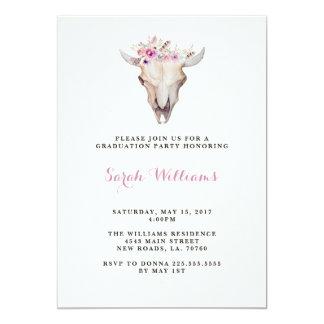 Floral Skull Graduation Invitations