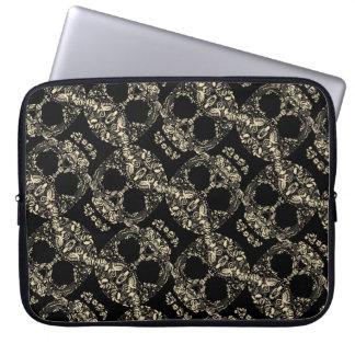 Floral skull pattern laptop sleeve