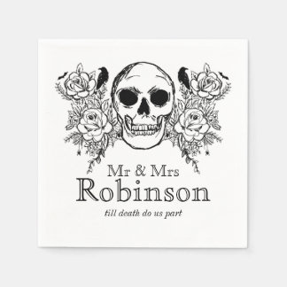 Floral skull till death do us part napkin disposable napkins
