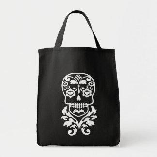 floral skull,trendy flourish skull tote bag