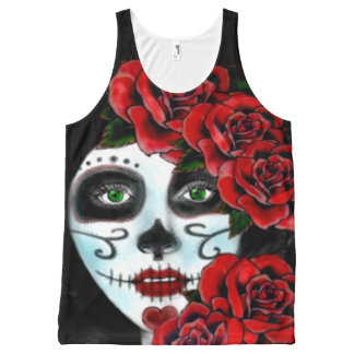 Floral skull woman,skull girl All-Over print tank top