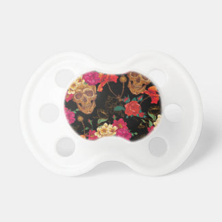 floral Skulls Baby Pacifiers