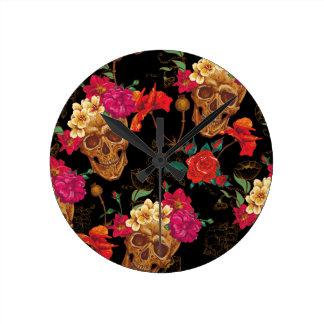 floral Skulls Clock