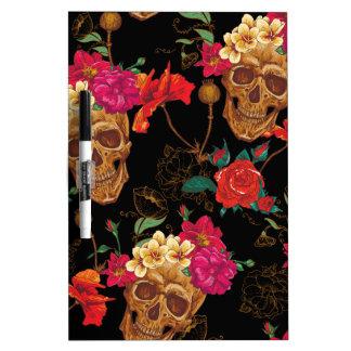 floral Skulls Dry Erase Board