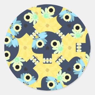 Floral Skulls Round Sticker
