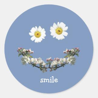 Floral Smile Envelope Seals Round Sticker
