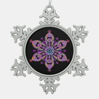 Floral Snow Pewter Snowflake Decoration