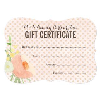 Floral Spa Beautician Gift Certificate Template 13 Cm X 18 Cm Invitation Card