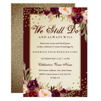 Floral Sparkle Burgundy Vow Renewal Anniversary Card
