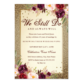 Floral Sparkle Gold Vow Renewal Anniversary Card
