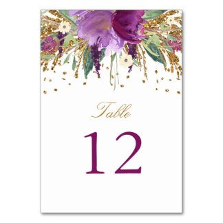 Floral Sparkling Amethyst Table Number Card Table Card