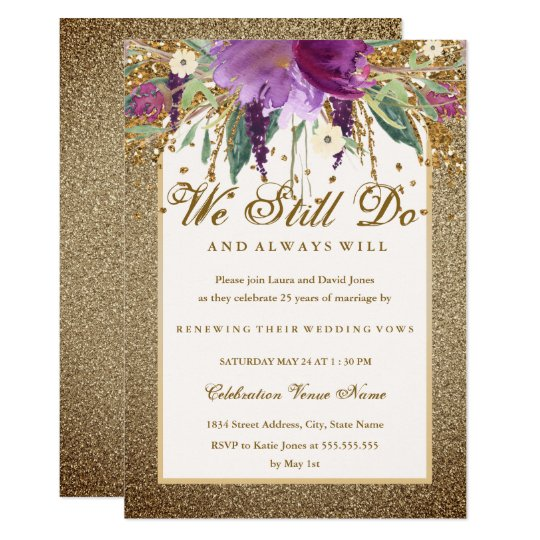 Floral Sparkling Amethyst Vow Renewal Anniversary Card