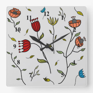 Floral Spice Colorful Flowers Print Pattern Clocks