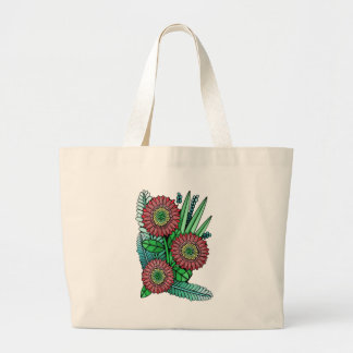 Floral Spray Color Large Tote Bag