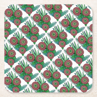 Floral Spray Color Square Paper Coaster