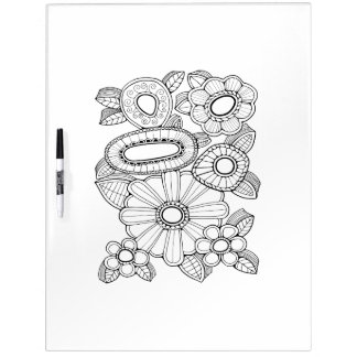 Floral Spray Five Adult Coloring Dry Erase Board