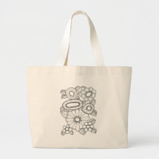Floral Spray Five Line Art Design Large Tote Bag