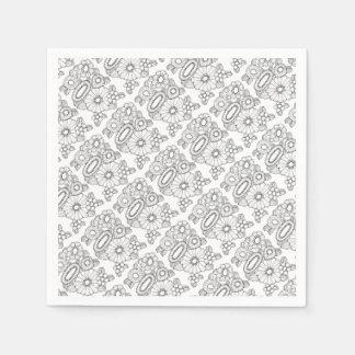 Floral Spray Five Line Art Design Paper Serviettes