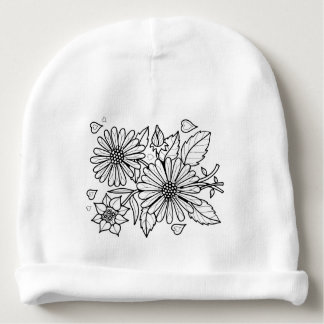 Floral Spray Line Art Design Baby Beanie