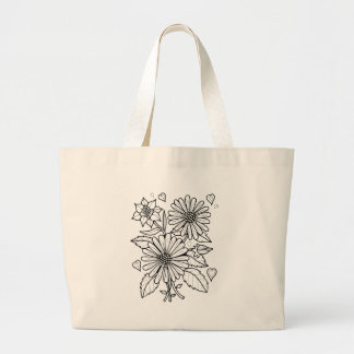 Floral Spray Line Art Design Large Tote Bag