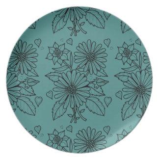 Floral Spray Line Art Design Plate