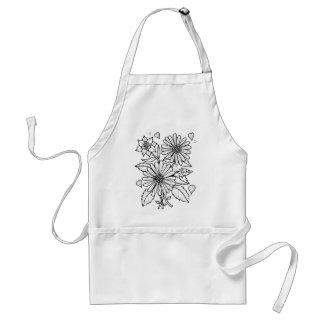 Floral Spray Line Art Design Standard Apron