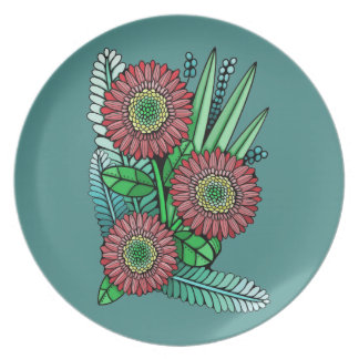 Floral Spray Two Color Design Dinner Plates