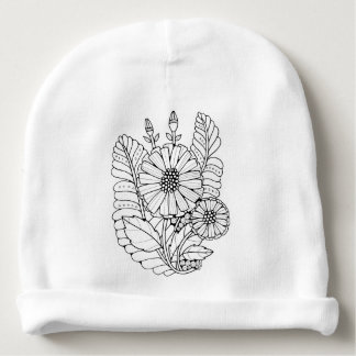Floral Spray Two Line Art Design Baby Beanie