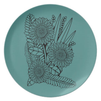Floral Spray Two Line Art Design Plate