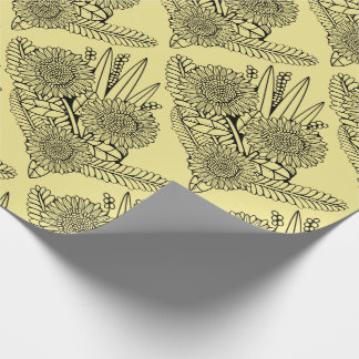 Floral Spray Two Line Art Design Wrapping Paper