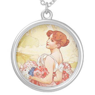 Floral Spring Goddess Round Pendant Necklace