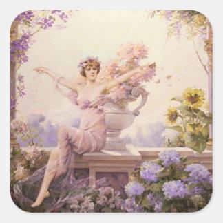 Floral Sprite Square Sticker