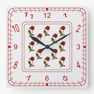 Floral Square of Red Roses, White Lattice Pattern Wallclock