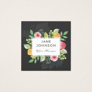 Floral Square Watercolor Business Cards 4
